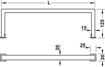 Suport de prosop,seria sub formă de pătrat, pentru montare cu şuruburi